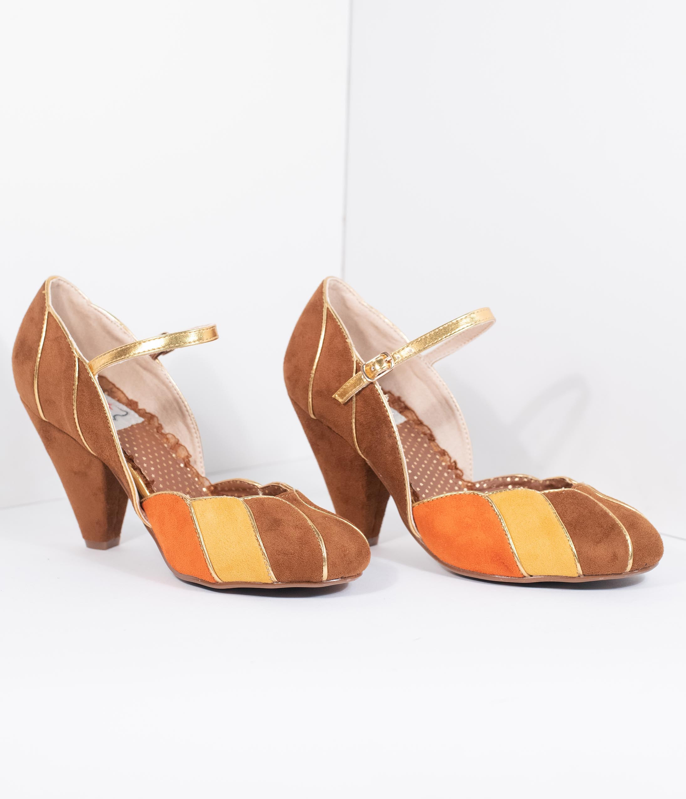 Pin Up Shoes- Heels, Pumps & Flats Bettie Page 1950S Brown Suede Kathryn Heels $80.00 AT vintagedancer.com