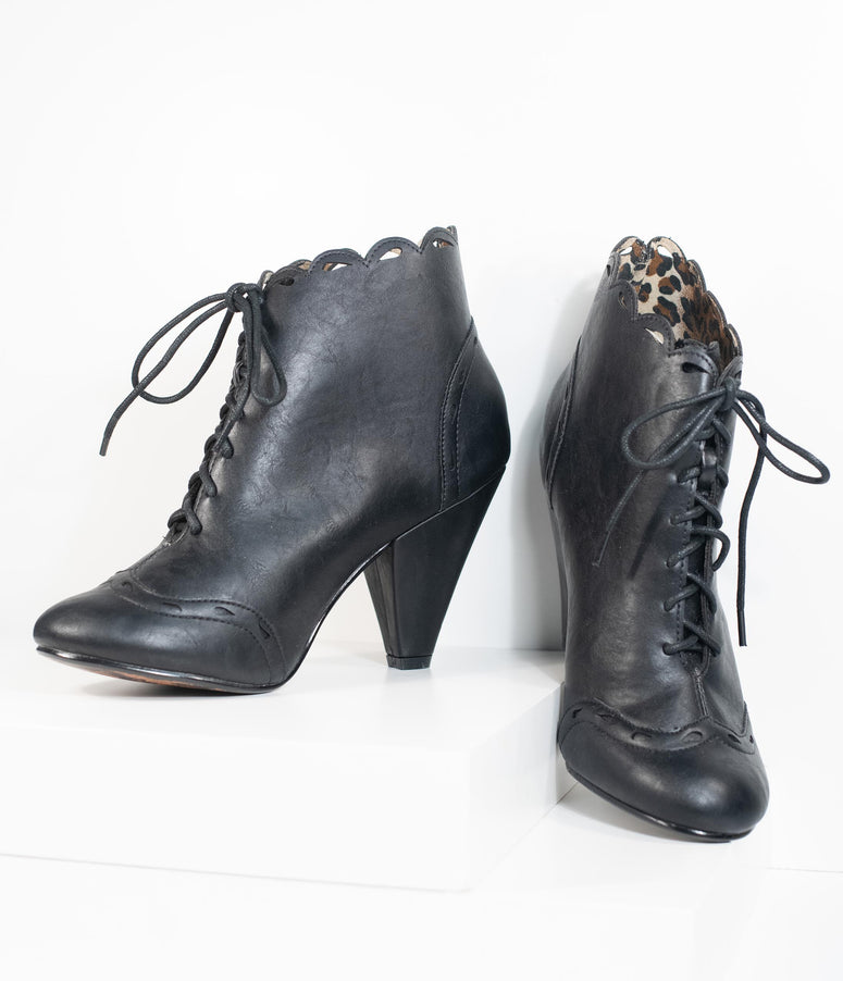 Bettie Page Black Leatherette Eddie Lace Up Booties
