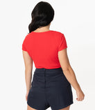 Unique Vintage 1950s Style Red Sweetheart Rosemary Top