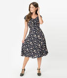 Unique Vintage 1940s Style Navy & Pink Floral Print Havilland Dress