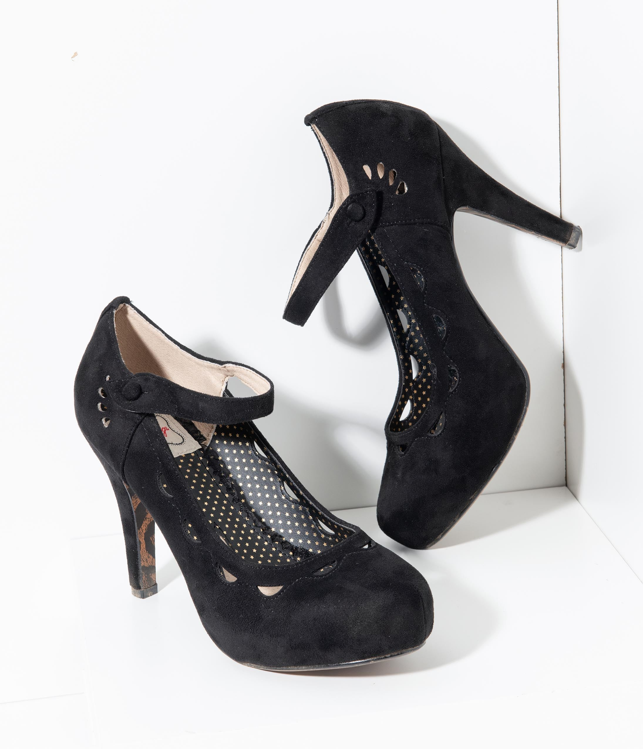 Rockabilly Shoes- Heels, Pumps, Boots, Flats Bettie Page Black Suede Mary Jane Yvette Pumps $76.00 AT vintagedancer.com