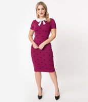 Modest Pencil-Skirt Back Vent Back Zipper Fitted Collared General Print Short Sleeves Sleeves Knit Dress With a Bow(s)