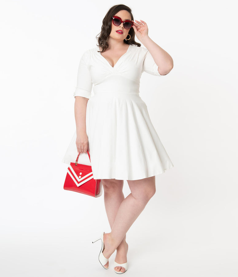 Unique Vintage Plus Size 1950s Ivory Delores Fit & Flare Dress
