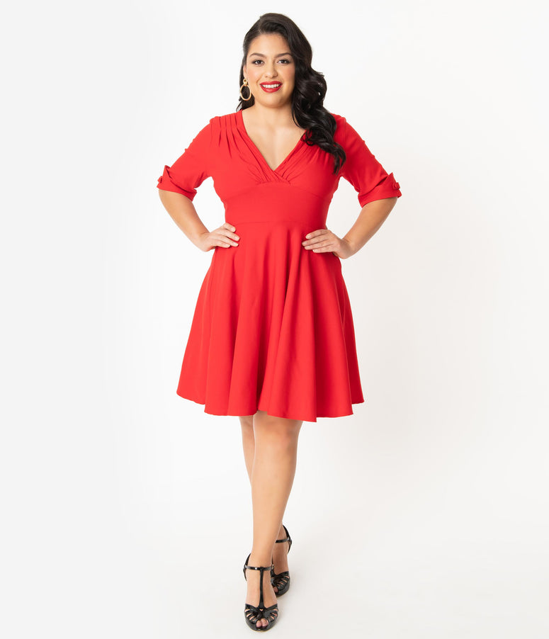 Unique Vintage Plus Size 1950s Red Delores Fit & Flare Dress
