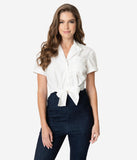Unique Vintage White Button Up Bow Shirley Crop Top