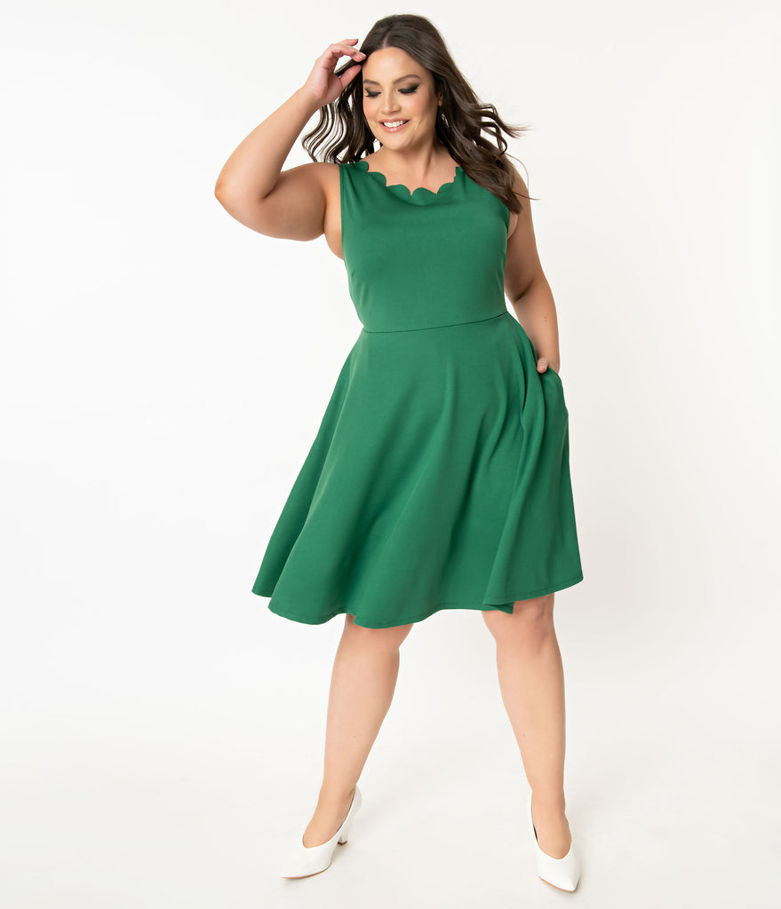 Smak Parlour Plus Size Green Sleeveless Charmed Swing Dress