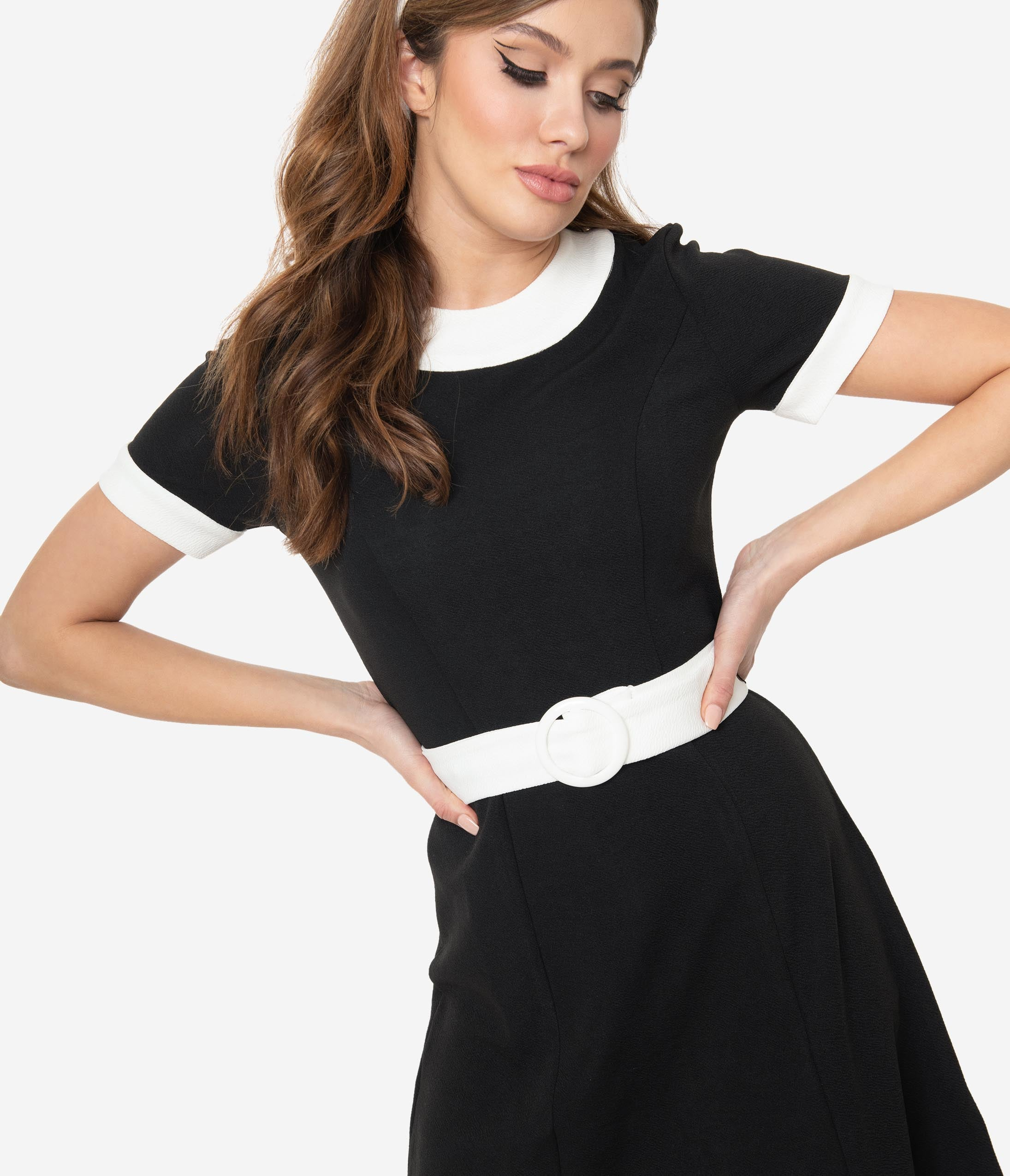 500 Vintage Style Dresses for Sale | Vintage Inspired Dresses Smak Parlour Black  White Belted Show Stealer Dress $58.00 AT vintagedancer.com