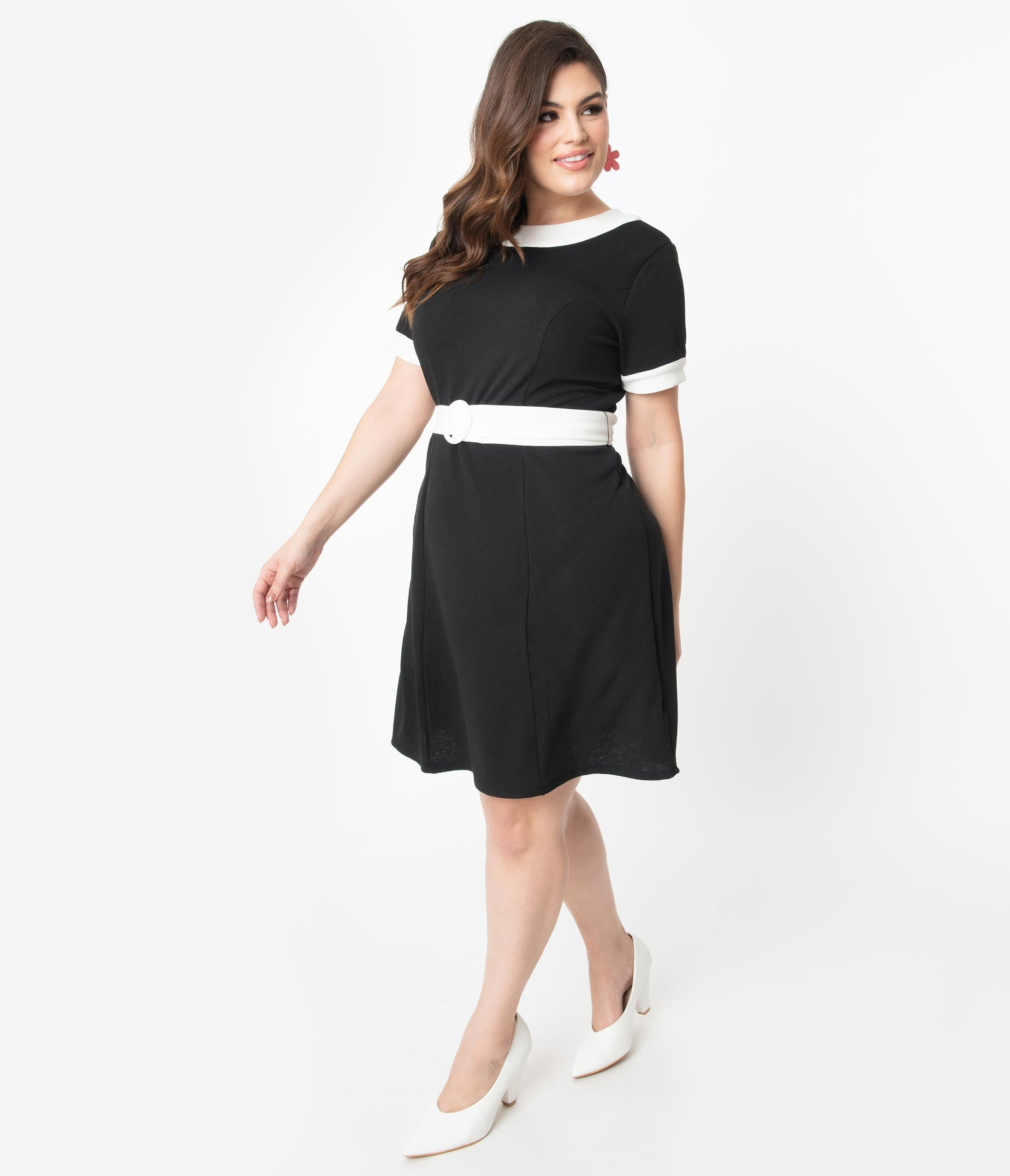 60s 70s Plus Size Dresses, Clothing, Costumes Smak Parlour Plus Size Black  White Belted Show Stealer Dress $58.00 AT vintagedancer.com