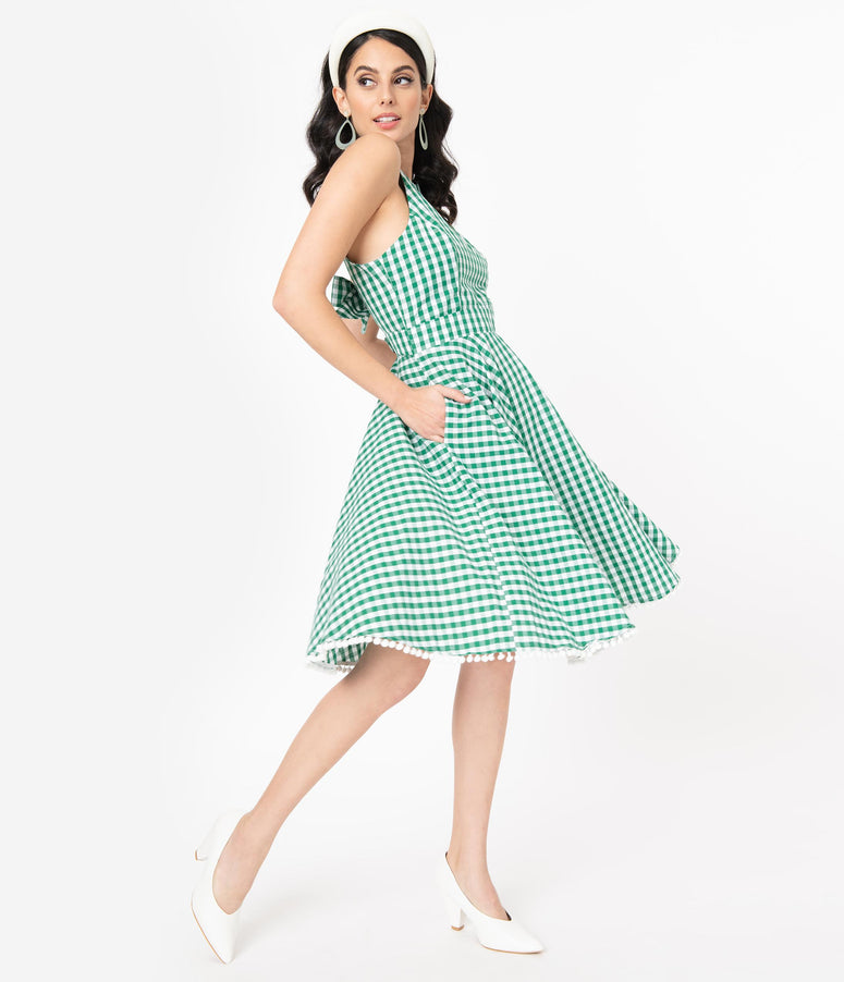 Smak Parlour Green & White Gingham Make Me Over Flare Dress
