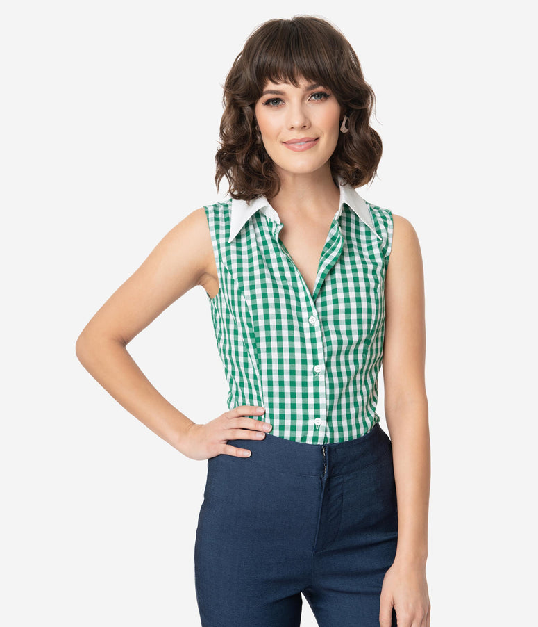 Smak Parlour Green & White Gingham Go-Getter Blouse