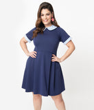 Smak Parlour Plus Size Navy & Light Blue Gingham Pin Dot Babe Revolution Fit & Flare Dress