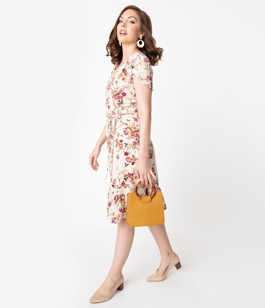 Smak Parlour Beige & Pink Floral Print Hide And Go Chic Midi Dress