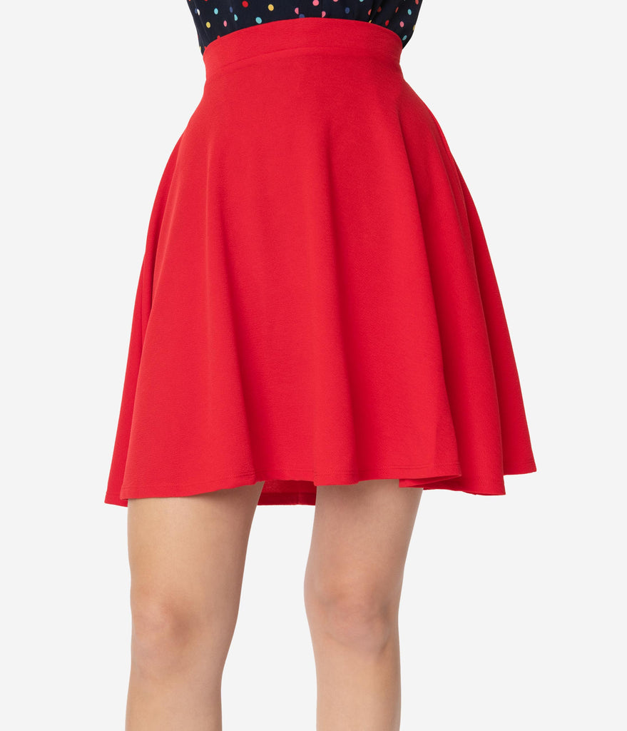 Smak Parlour 1960s Red Sweet Talk Flare Skirt