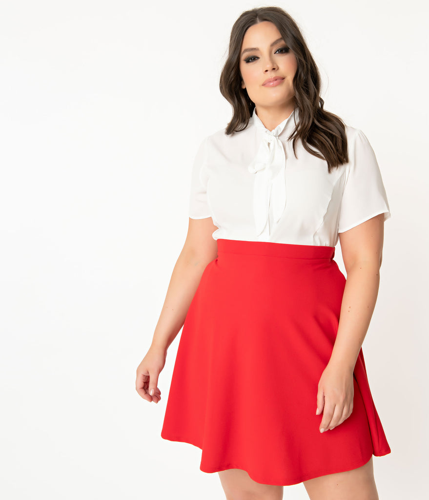 Smak Parlour Plus Size 1960s Red Sweet Talk Flare Skirt