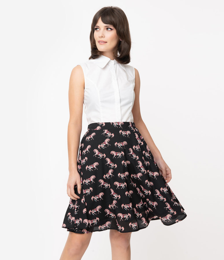 Smak Parlour Black Carousel Pony Print Seek Greatness Flare Skirt