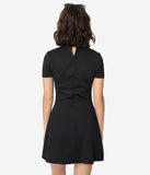 Smak Parlour Black Mock Turtleneck Wave Maker Dress