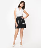 Smak Parlour Black Mod Pocket Say It Loud Skirt with White Piping