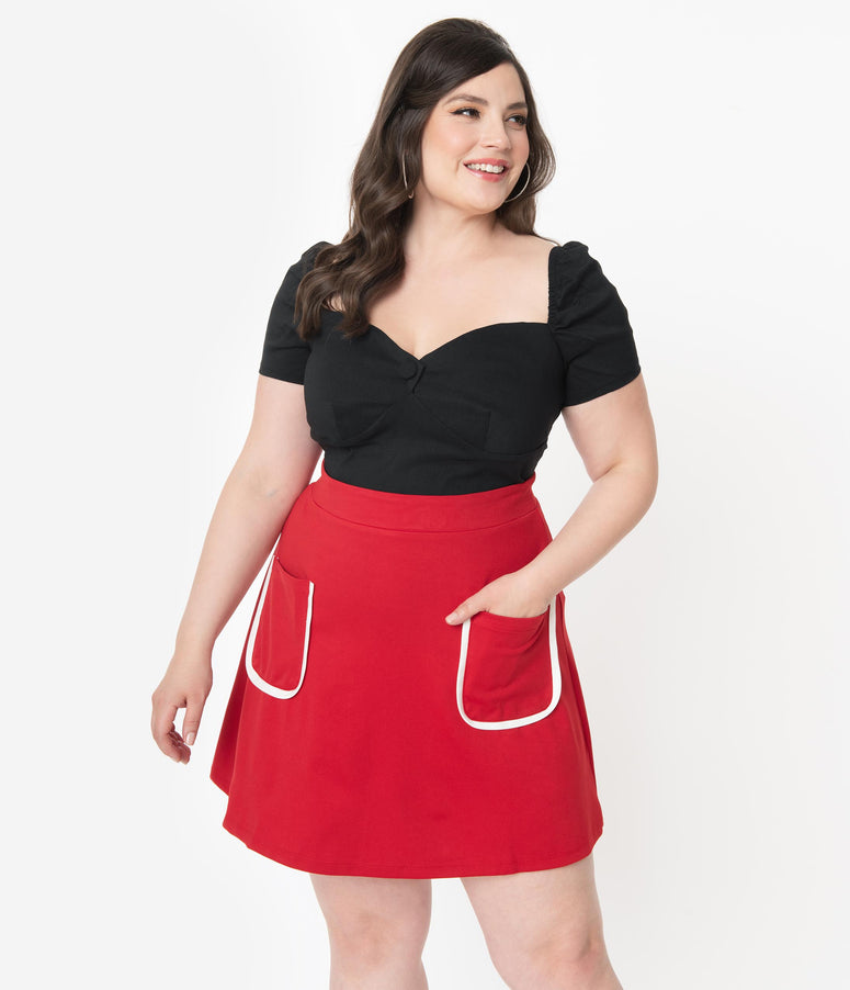 Smak Parlour Plus Size Red Mod Pocket Say It Loud Mini Skirt