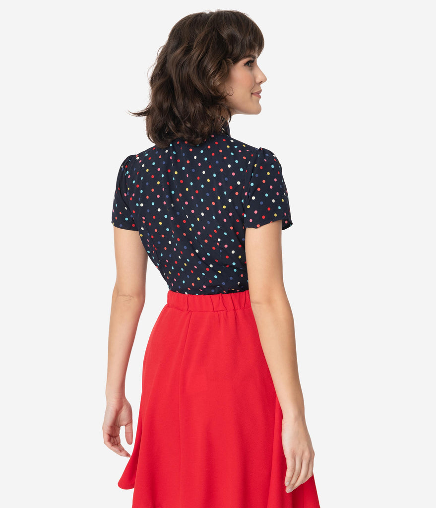 Smak Parlour Navy Blue & Rainbow Dot Neck Tie Power Play Blouse