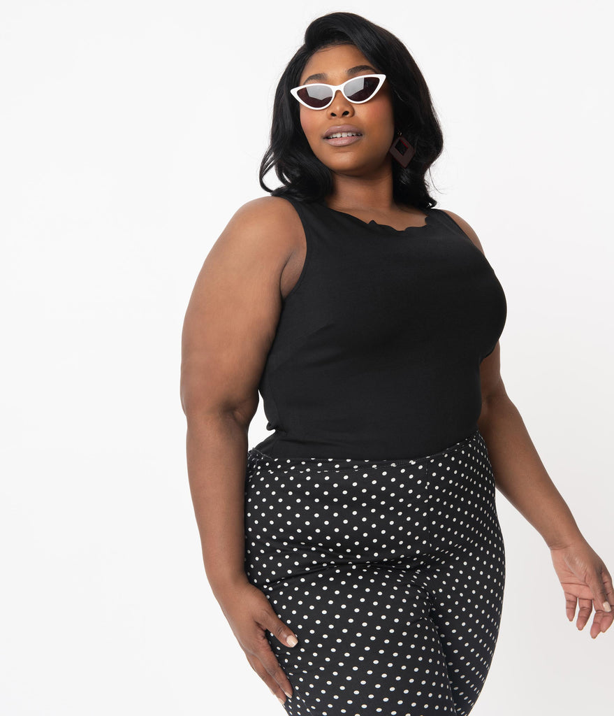 Smak Parlour Plus Size Black Charmed Sleeveless Scallop Top
