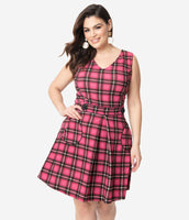 Tall Plus Size A-line V-neck Knit Above the Knee Belted Pocketed Back Zipper Banding Piping Vintage Fitted Natural Waistline Plaid Print Dress