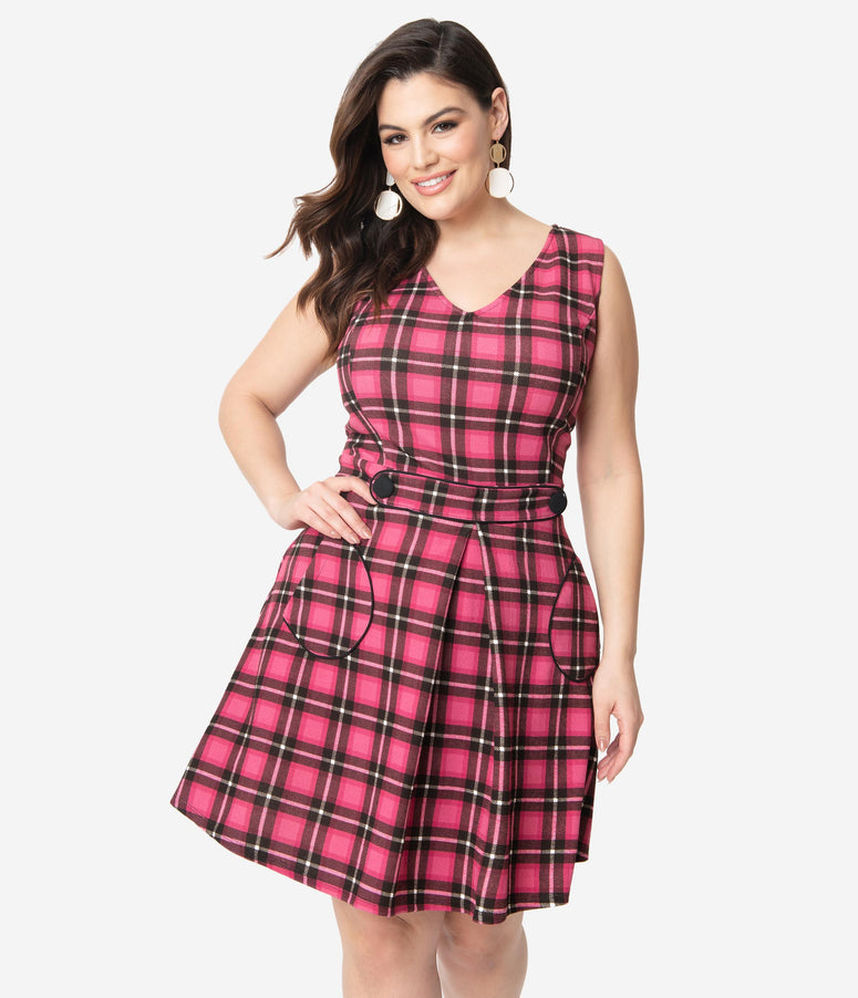 Smak Parlour Plus Size 1960s Pink Plaid Totally Radical Fit & Flare Dress