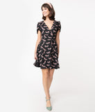 Smak Parlour Black Carousel Pony Print Pretty Woke Faux Wrap Flare Dress