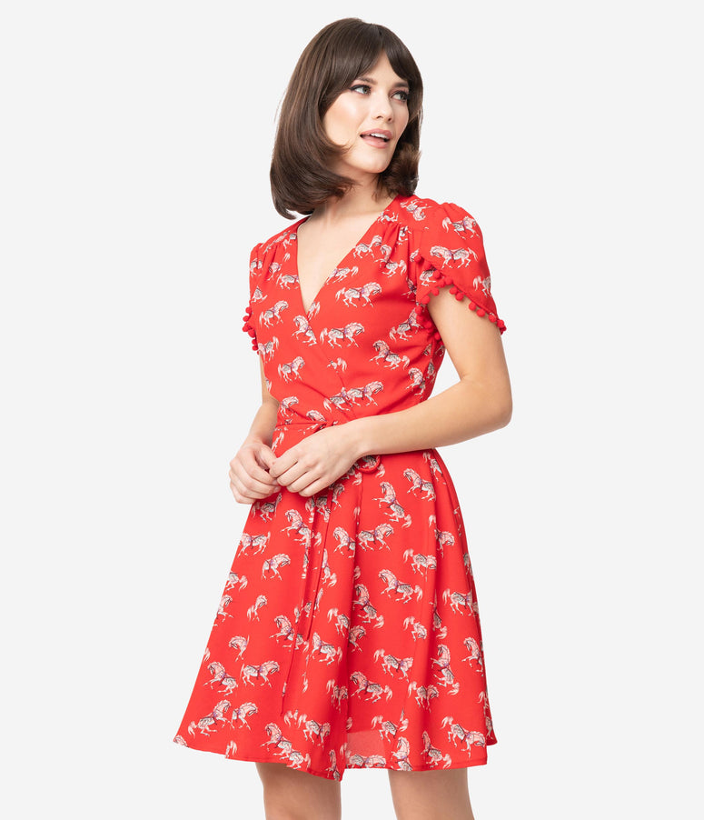 Smak Parlour Red Carousel Pony Print Pretty Woke Faux Wrap Flare Dress