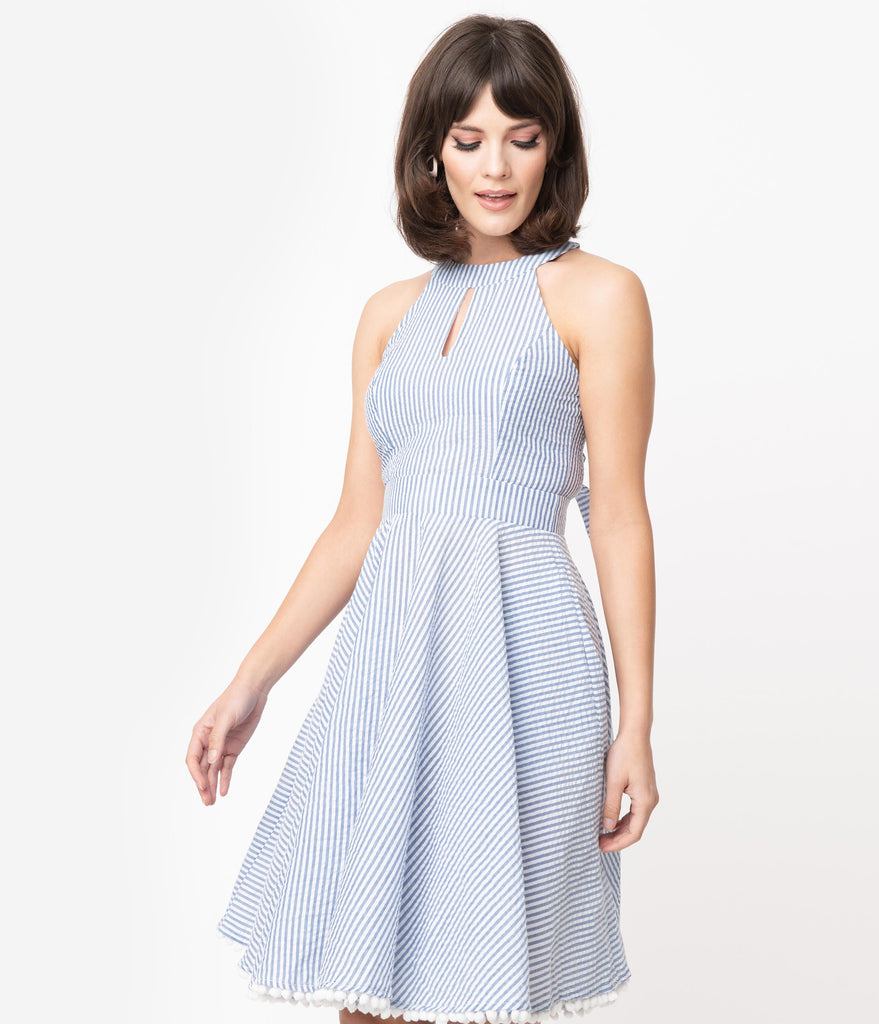 Smak Parlour Blue & White Stripe Seersucker Make Me Over Flare Dress