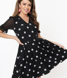 Smak Parlour Black Cat Print Ruffle Riot Fit & Flare Dress