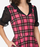 Smak Parlour Pink Plaid Half Sleeve Ruffle Riot Fit & Flare Dress