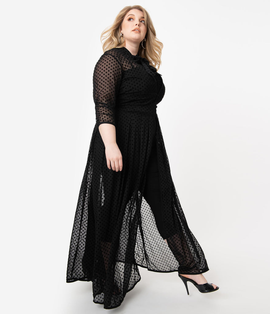 I Love Lucy x Unique Vintage Plus Size Black Swiss Dot Starlet Duster