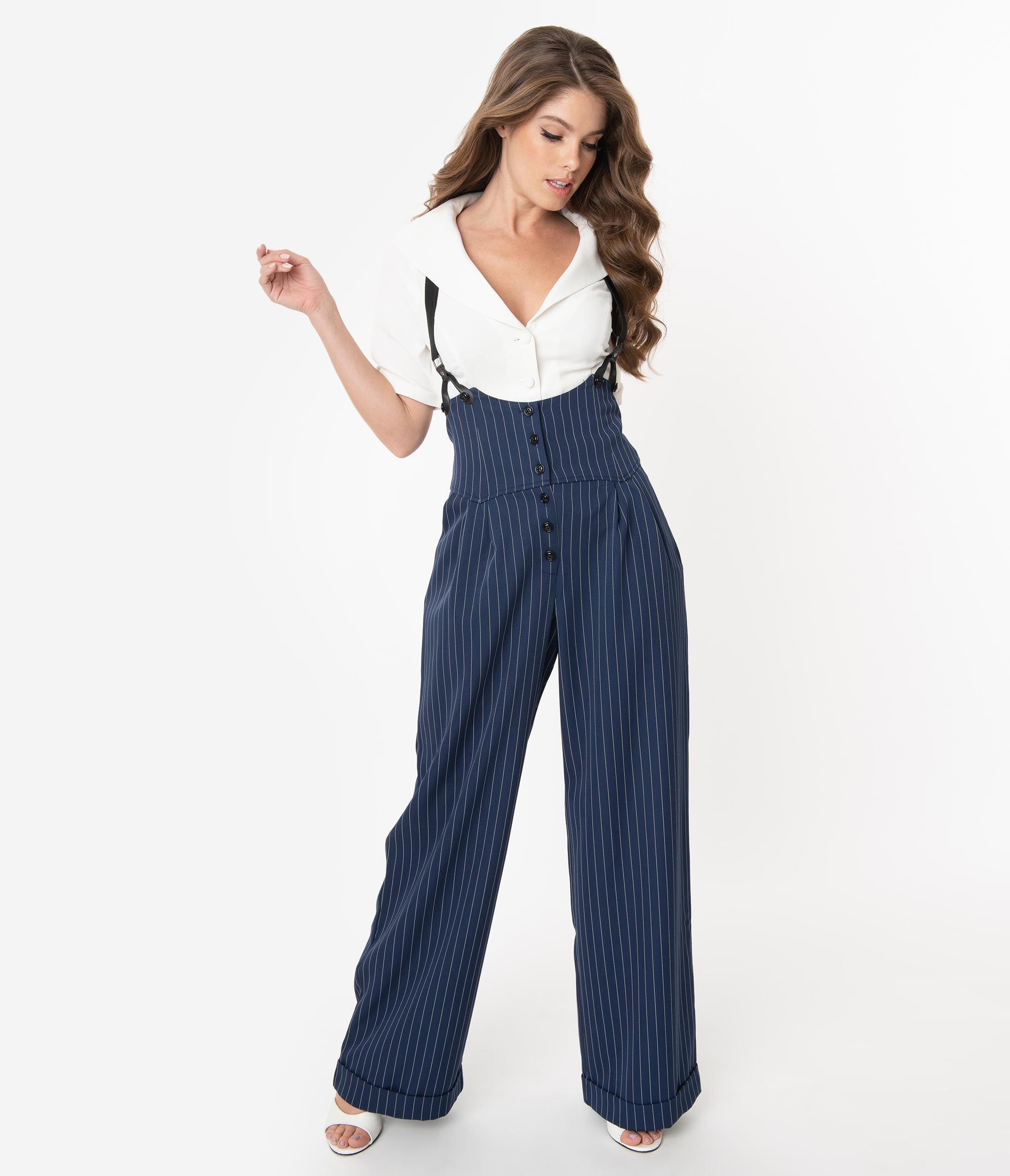 1930s Wide Leg Pants and Beach Pajamas Unique Vintage 1930S Navy  White Pin Stripe Thelma Suspender Pants $98.00 AT vintagedancer.com
