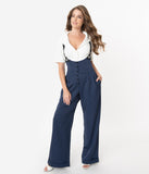 Unique Vintage 1930s Navy & White Pin Stripe Thelma Suspender Pants