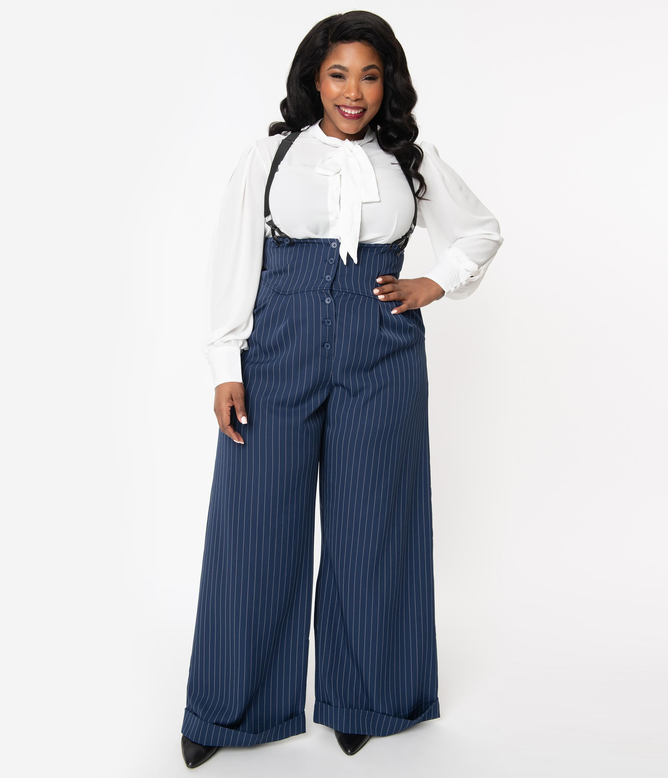 1940s Swing Pants & Sailor Trousers- Wide Leg, High Waist Unique Vintage Plus Size 1930S Navy  White Pin Stripe Thelma Suspender Pants $98.00 AT vintagedancer.com