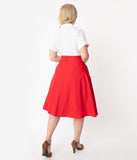 Unique Vintage Plus Size Retro Red Stretch Vivien Swing Skirt