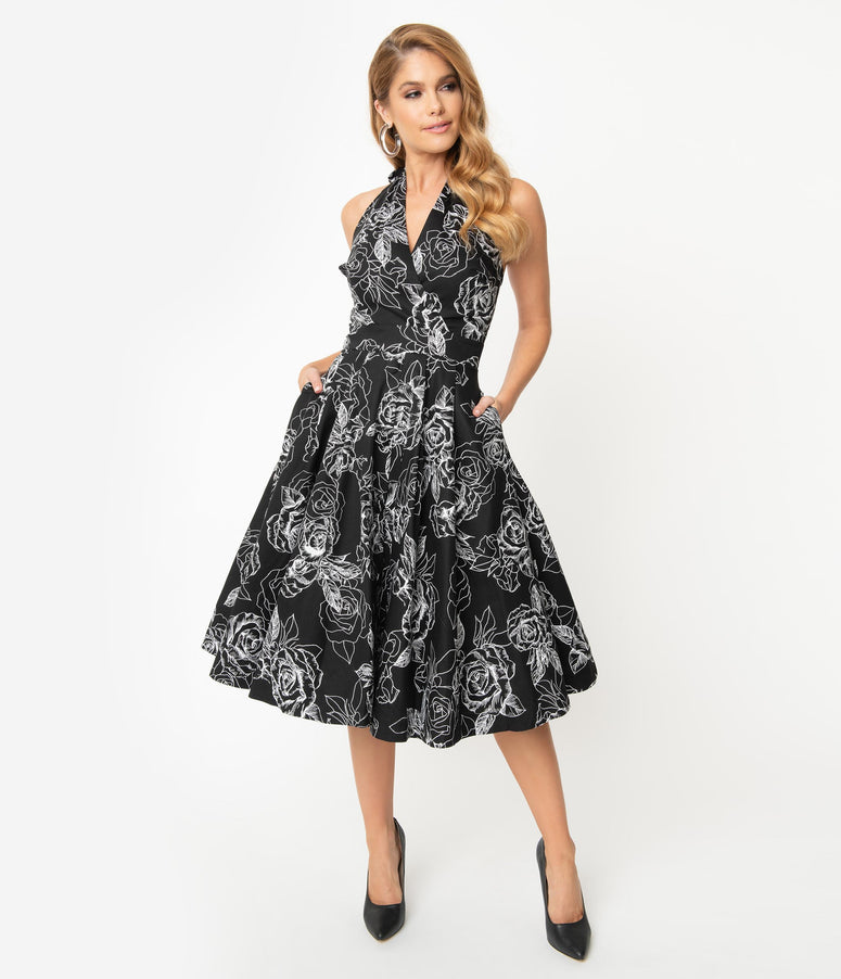 Unique Vintage Black & White Floral Print Tarrytown Hostess Dress