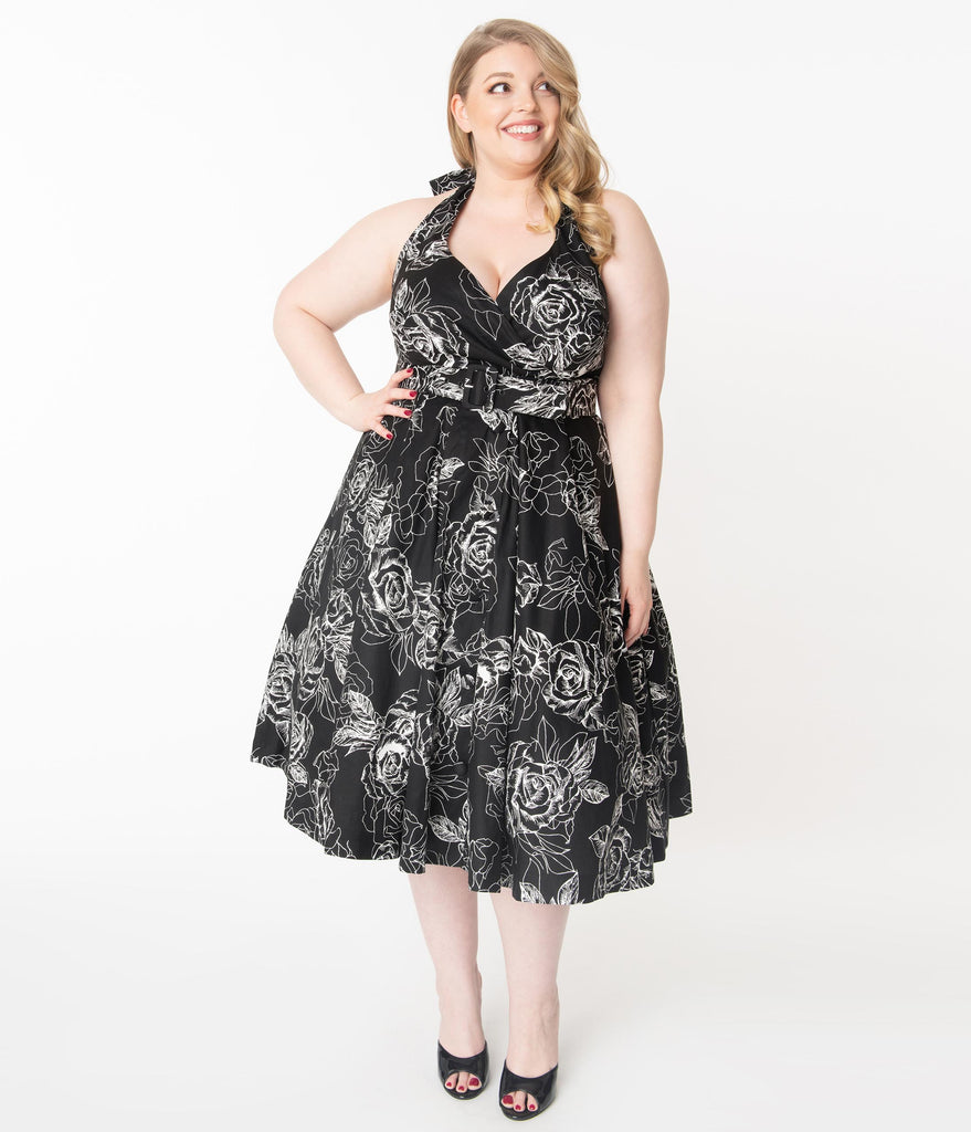 Unique Vintage Plus Size Black & White Floral Print Tarrytown Hostess Dress