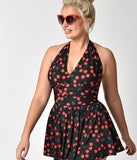 Plus Size Esther Williams Rockabilly Black Cherry Marilyn Halter Swimdress