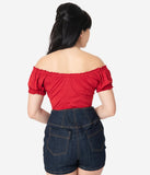 Unique Vintage Retro Red Bernadette Fitted Peasant Top