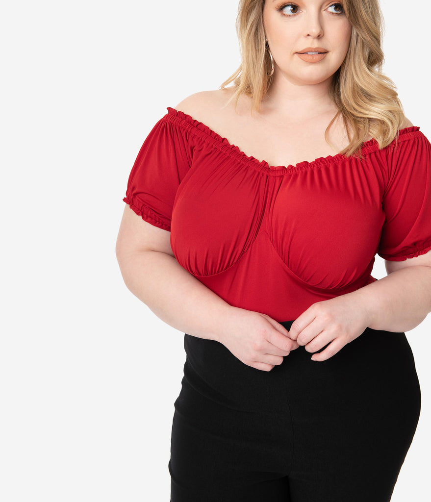 Unique Vintage Plus Size Retro Red Bernadette Top