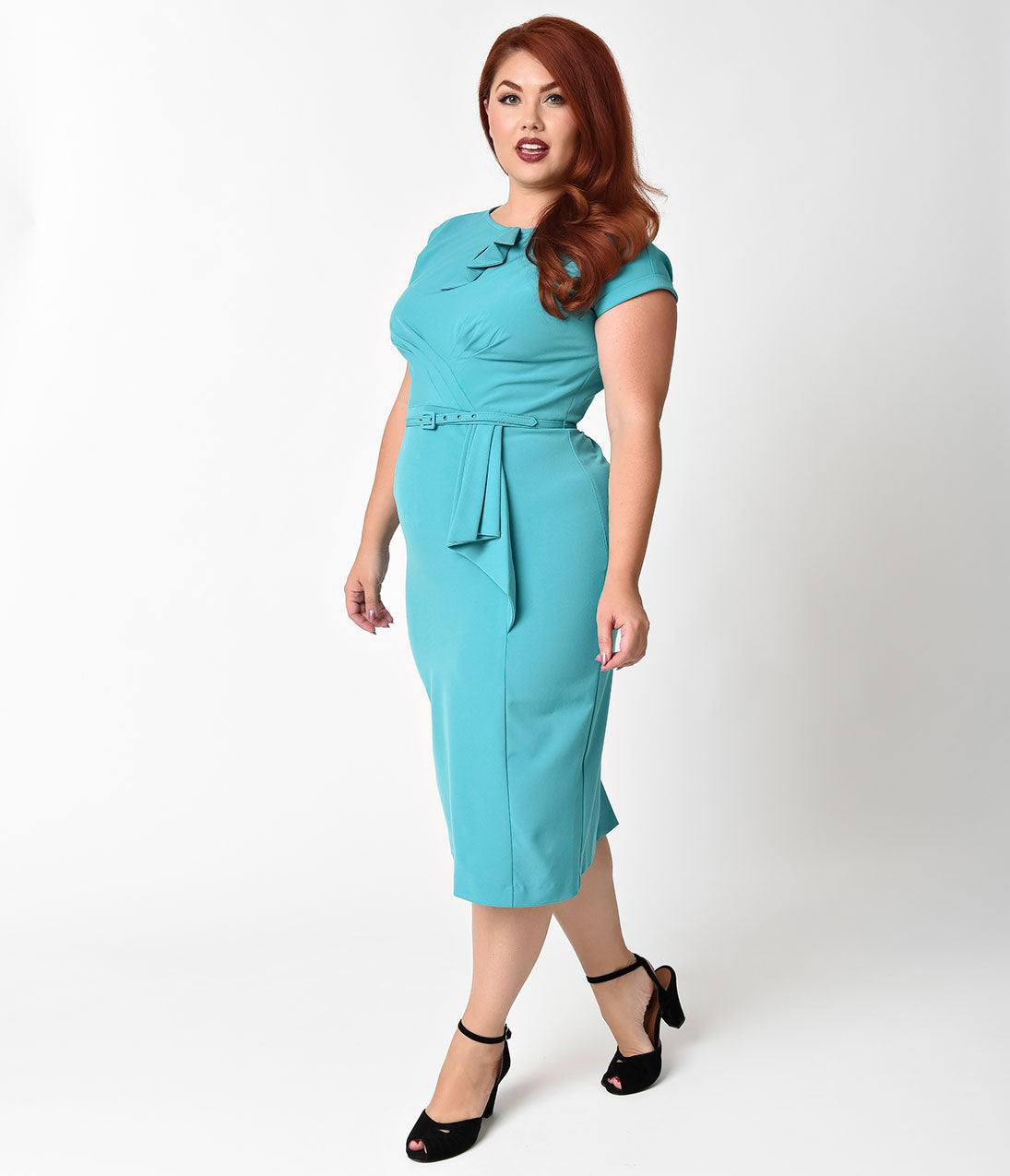 1940s Dresses | 40s Dress, Swing Dress Stop Staring Plus Size 1940S Style Aqua Fitted Timeless Wiggle Dress $80.00 AT vintagedancer.com
