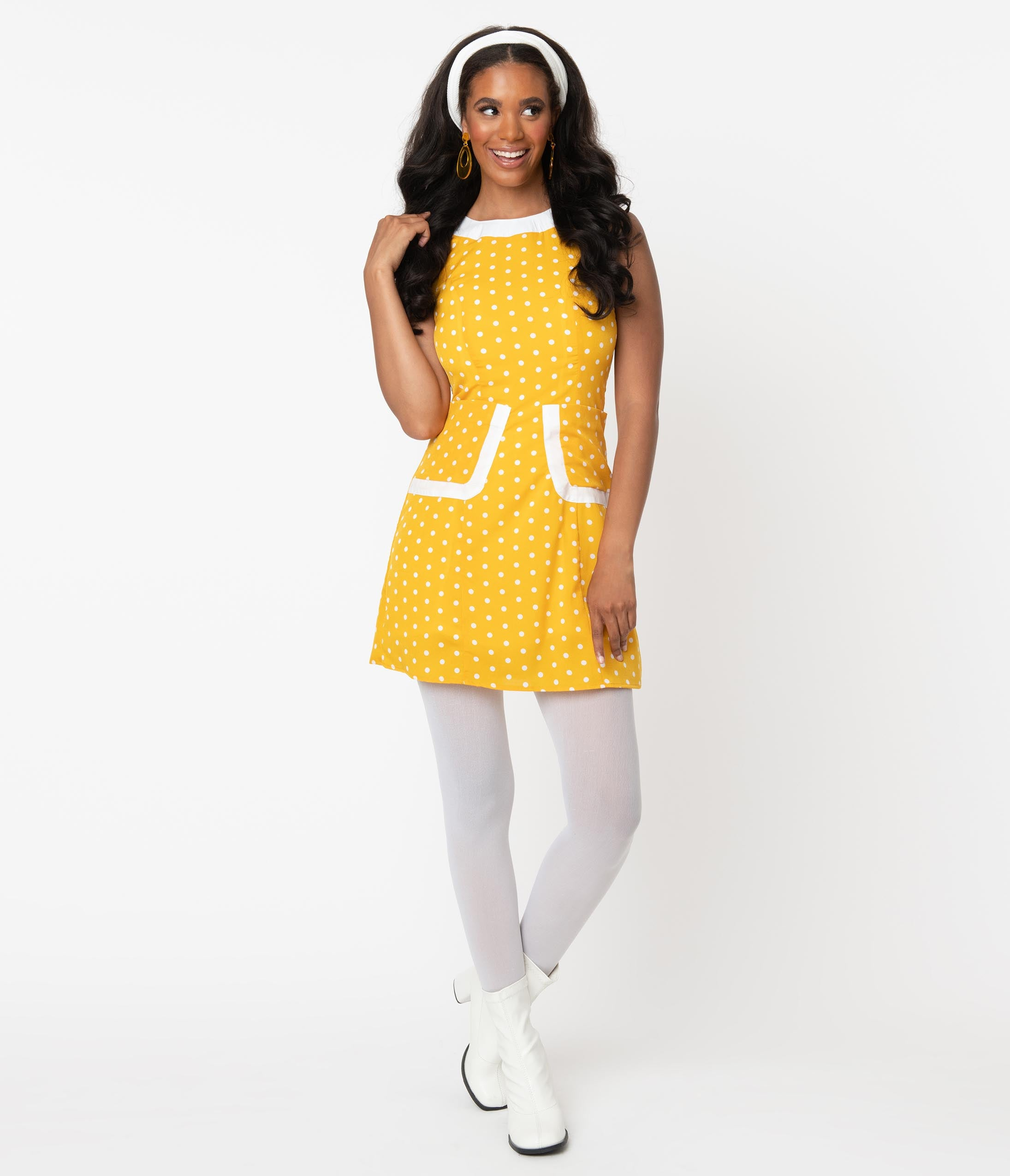 Vintage Style Dresses | Vintage Inspired Dresses Smak Parlour 1960S Mustard  White Polka Dot Liberated Fit  Flare Dress $72.00 AT vintagedancer.com
