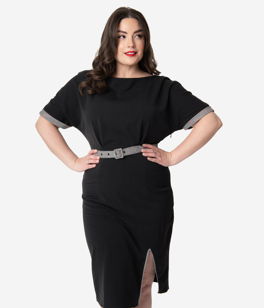 Miss Candyfloss Plus Size Black Amira Wiggle Dress