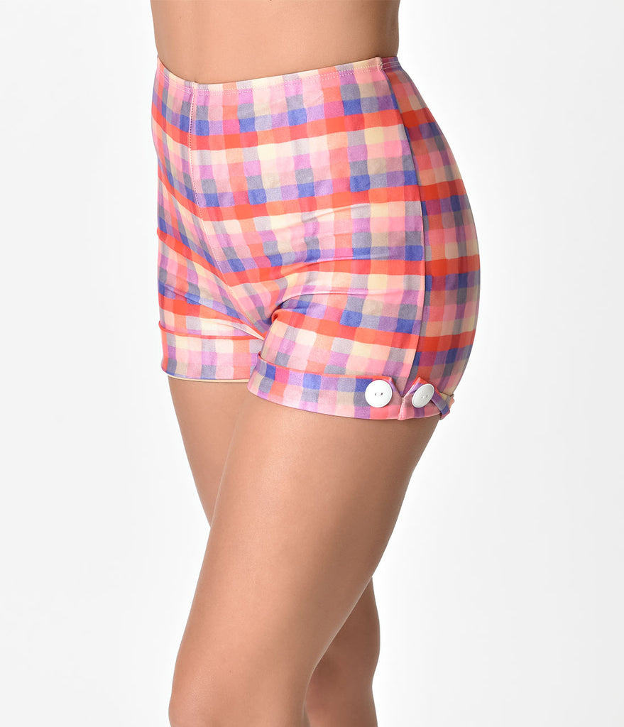 Girl Howdy Retro Pin-Up High Waist Plaid Prue Swim Shorts