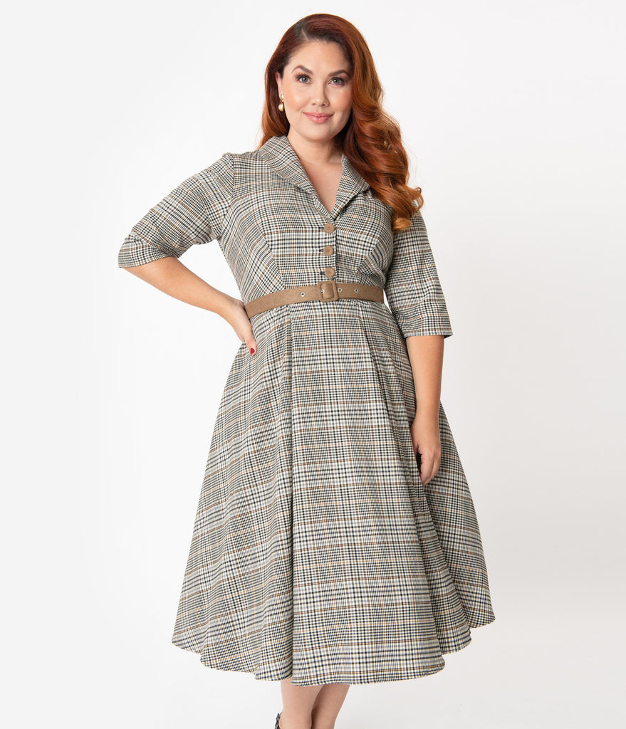 Miss Candyfloss Plus Size Plaid Krissy Swing Dress