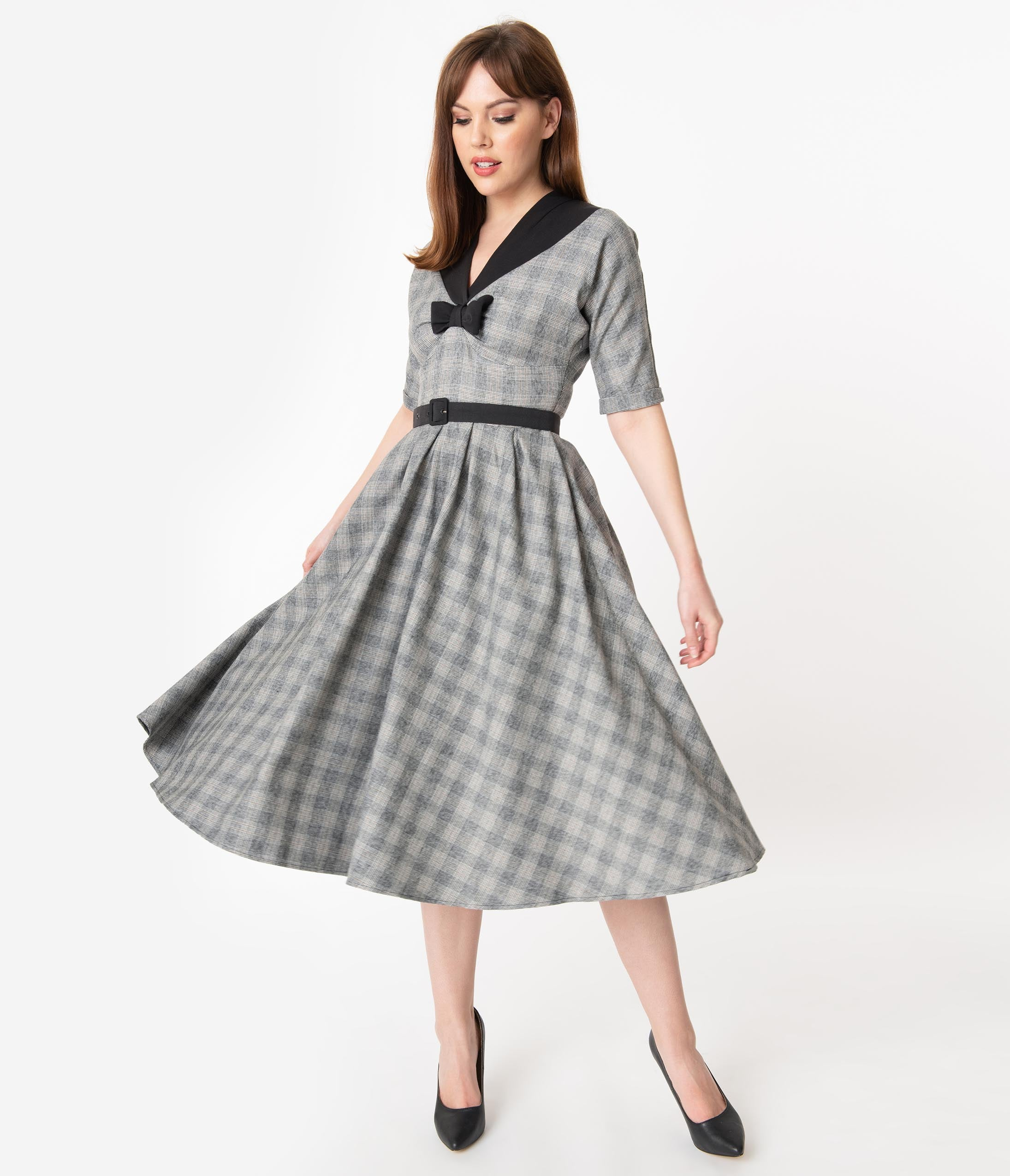 1950s House Dresses and Aprons History Miss Candyfloss 1950S Grey Check Maeby Swing Dress $126.00 AT vintagedancer.com