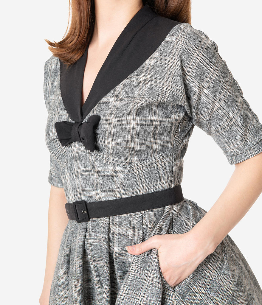 Miss Candyfloss 1950s Grey Check Maeby Swing Dress