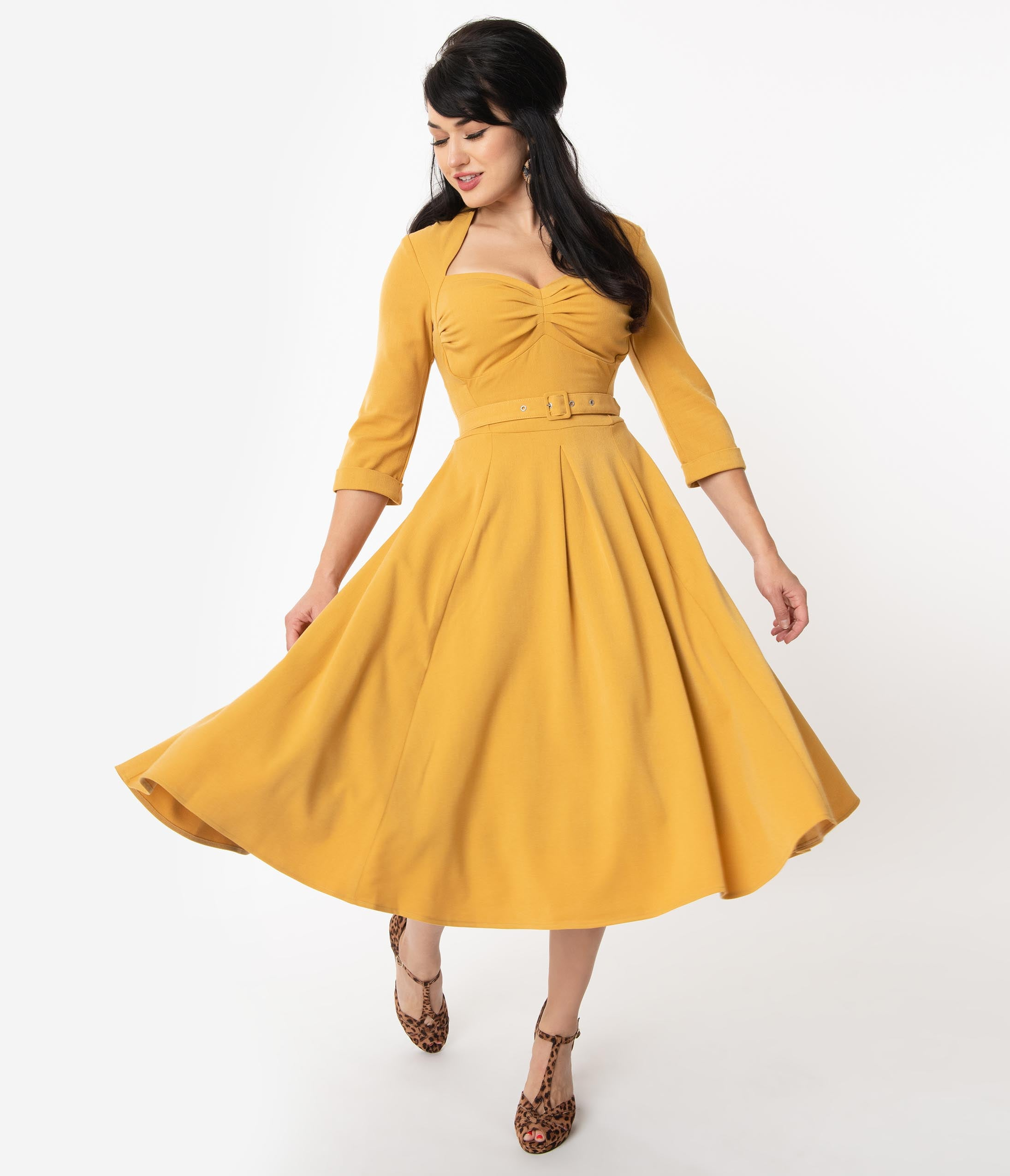 500 Vintage Style Dresses for Sale | Vintage Inspired Dresses Miss Candyfloss 1950S Mustard Yellow Naila Swing Dress $122.00 AT vintagedancer.com