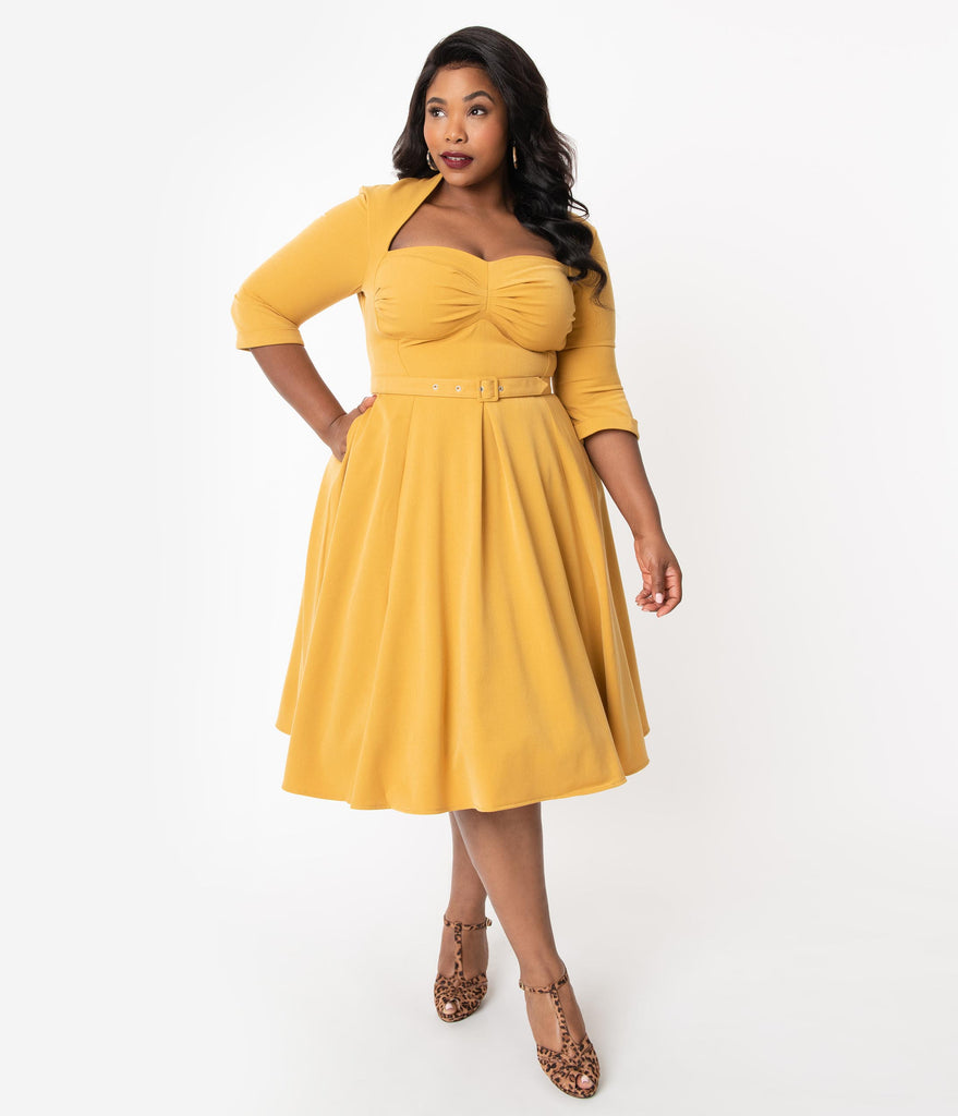 Miss Candyfloss Plus Size 1950s Mustard Yellow Naila Swing Dress